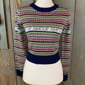 TOPSHOP cropped amour multi colored sweater NWOT